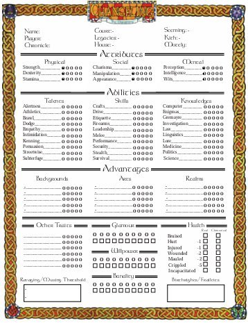 GDRPG Changeling the Dreaming carachter sheet