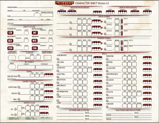 Pathfinder 2d edition character sheet page 1